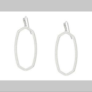 NWT KENDRA SCOTT Elle Open Frame Silver Earrings